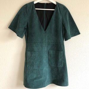 Zara Green Suede Short Sleeve Dress